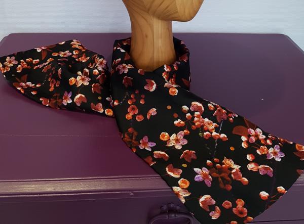 """Echarpe twill de soie """"fleurs de pommier"""""""